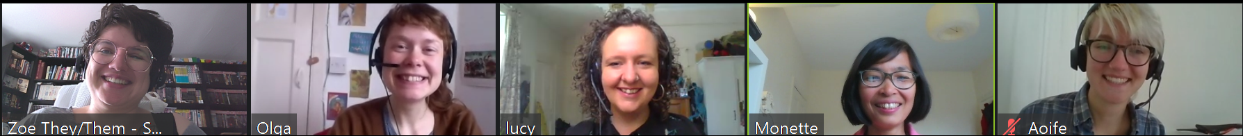 Screenshot of a zoom meeting of five people smiling